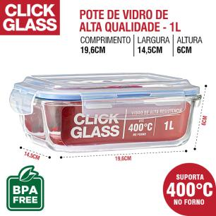 Kit com 10 potes de vidro click glass 100% Herméticos