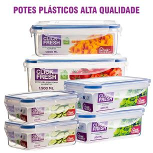 Kit 6 Potes Plásticos 100% Herméticos Qualidade Click Fresh