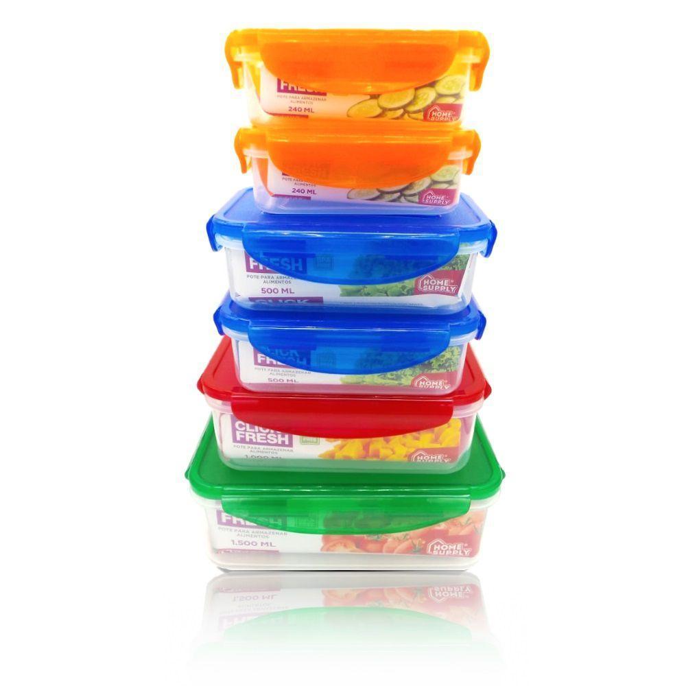Kit 6 Potes Herméticos de Altíssima Qualidade Click Fresh