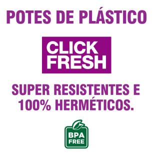 Kit com 6 Potes Plasticos Retangulares 100% Herméticos Click Fresh 500ML