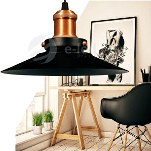 Luminária Pendente Chapéu Nordic Preto com Cobre Industrial - Soq: E27 / Tam: 22x12cm