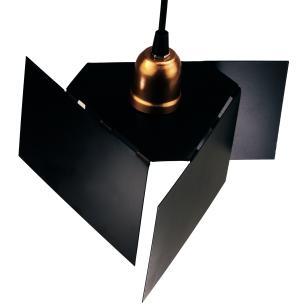 Luminária Pendente com Design Abstrato Preto com Cobre Mod: Tábor | Soq: E27