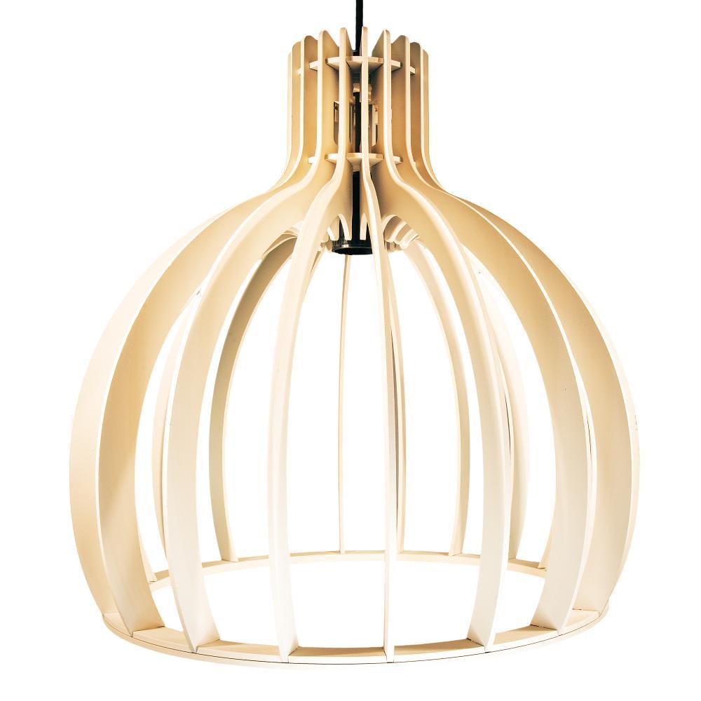 Luminária Pendente Cirkel Marfim em Madeira - Soq: E27 / Tam: 25x25,5cm