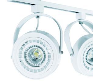 Trilho Eletrificado 1 metro com 4 Spots AR111 Branco com Lâmpada AR70 Prata LED 7W 2.700K