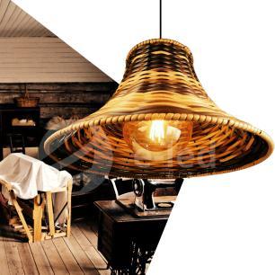 Lustre Pendente Em Junco Chapéu Chinês Luminária Rústica | Cor: Cappucino | Tam: 35cm