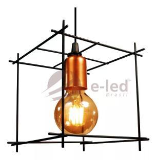 Lustre Pendente Aramado Industrial Cubo Soq: E27 | Cor:Preto | Tam: 19cm | Mod: Cube