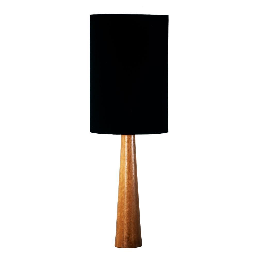 Abajur de Mesa em Madeira com Cúpula P de Tecido Preto Tam: 20x60cm
