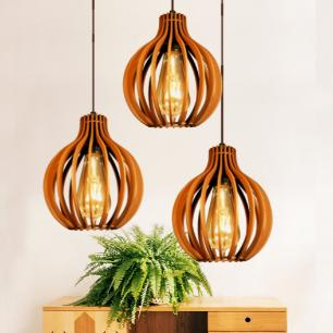 Pendente trio triplo de madeira | Canopla Retangular | 21x18cm | Soq: E-27 | Cores Mescladas B | Mod: Bali