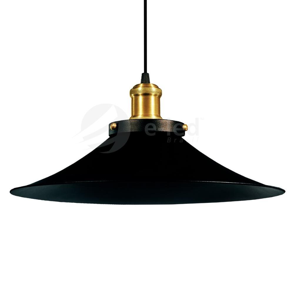 Luminária Pendente Chapéu Nordic Preto com Ouro Industrial - Soq: E27 / Tam: 38x19cm