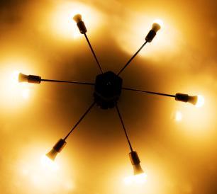 Luminária Sputnik industrial 6 hastes Com Fio Ajustável e Desviador Soq: E27 | Cor: Preto | Tam: 86cm | Mod: Recto