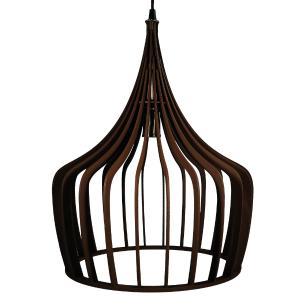 Luminária Pendente New York Marrom Café de Madeira - Soq: E27 / Tam: 36x43cm