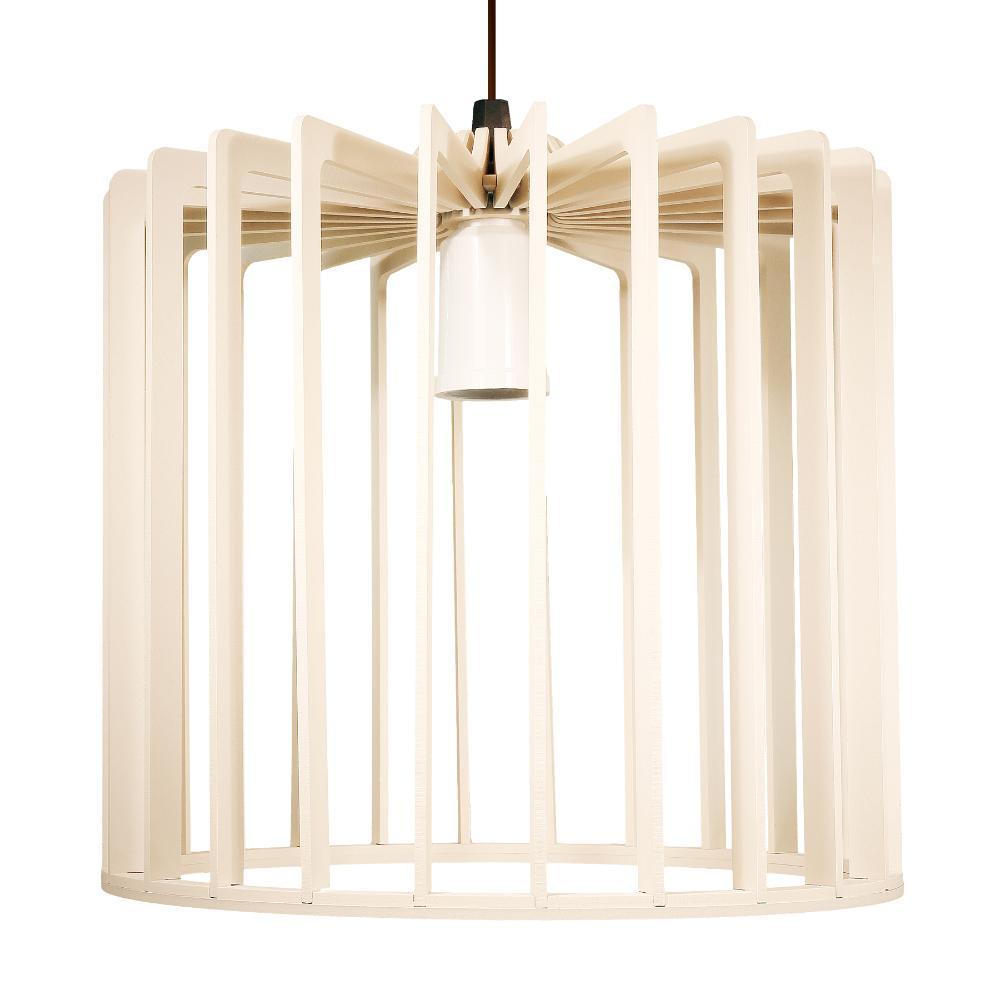 Luminária Pendente Tiziano Marfim de Madeira - Soq: E27 / Tam: 22x23cm