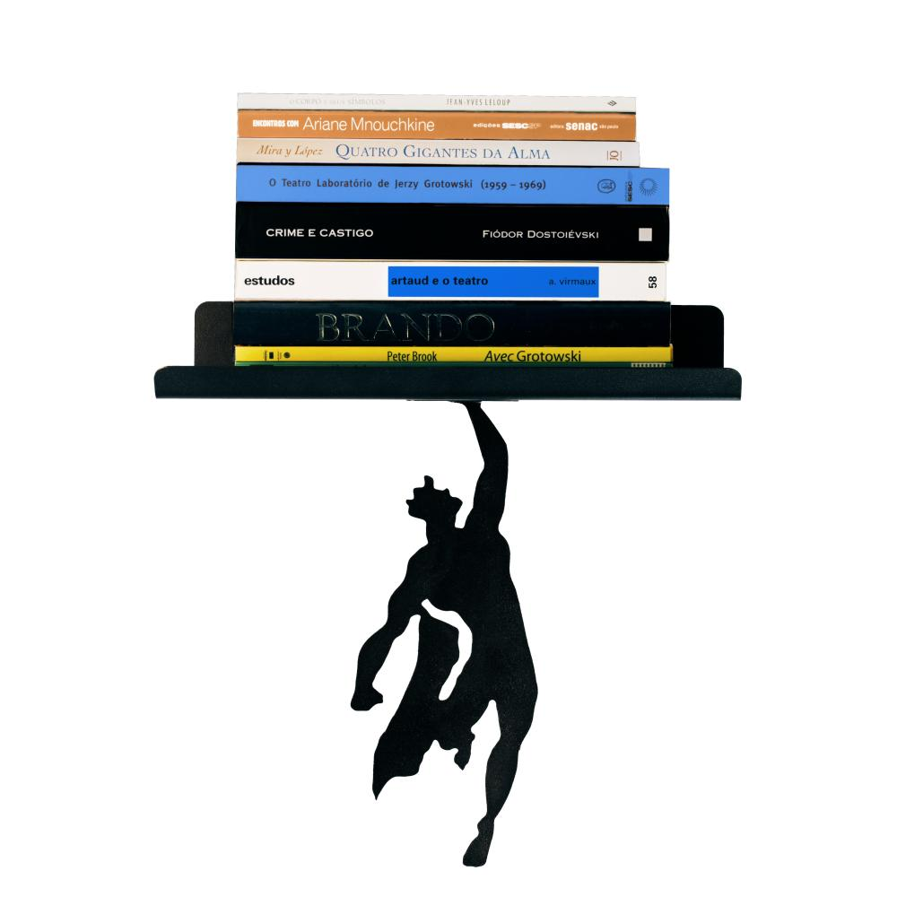 Organizador Para Livros Geek  De Metal| Mod : Superman  | Cor: Preto