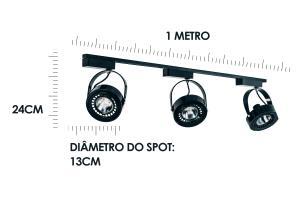 Trilho Eletrificado 1 metro com 3 Spots Preto Soq: AR70 6000K   Cor: Preto com Prata   Mod: L4