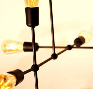 Luminária Sputnik Gun Industrial 6 hastes com Fio Ajustável Soq: E27 | Cor: Preto | Tam: 60cm | Mod: Sputnik Gun Fio