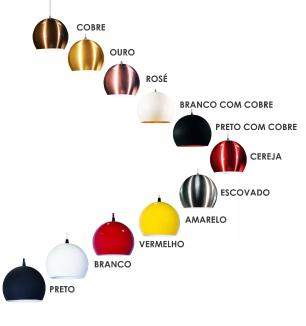 Lustre Pendente Duplo Meia Bola de Aluminio Soq: E27 | Cor: Amarelo | Tam: 14m | Mod: Conflate Duplo