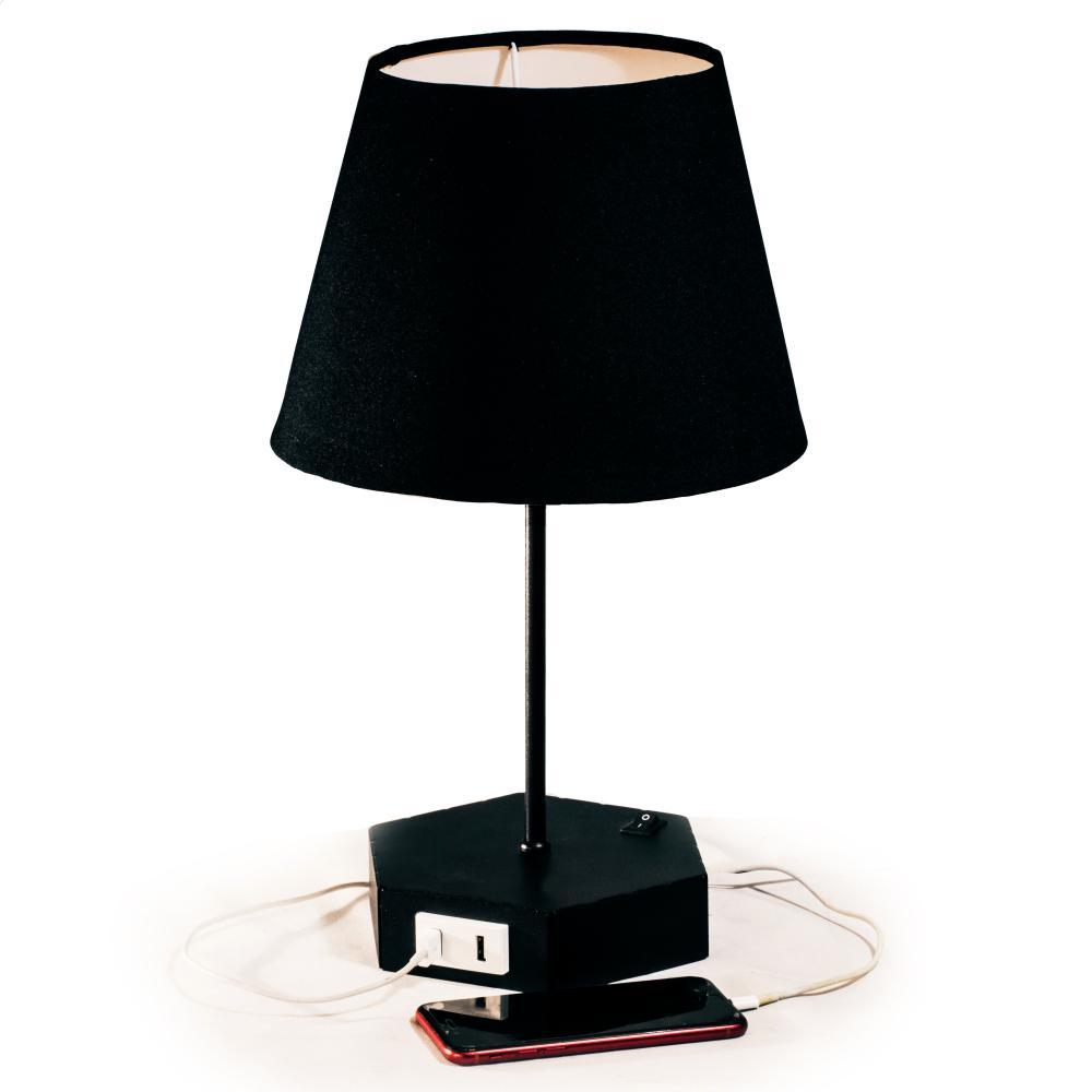 Abajur De Mesa com Design Hexagonal e Carregador USB | Preto com cúpula de tecido preta | Mod: Geometrico