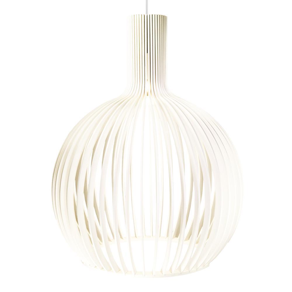 Luminária Pendente Octo Bellatrix Branca em Madeira - Soq: e27 / Tam: 38x46cm