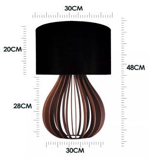 Abajur de Mesa Gota em Madeira Caramelo com Cúpula de Tecido Preto Tam: 30x48cm