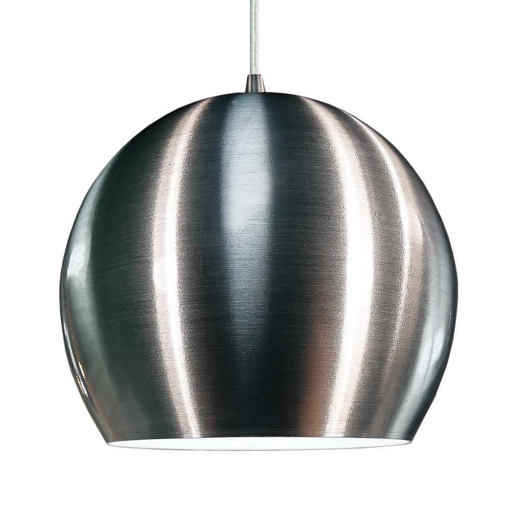 Luminária Pendente Meia Bola Conflate de Alumínio Escovado - LED 5.000K / Tam: 25x19cm