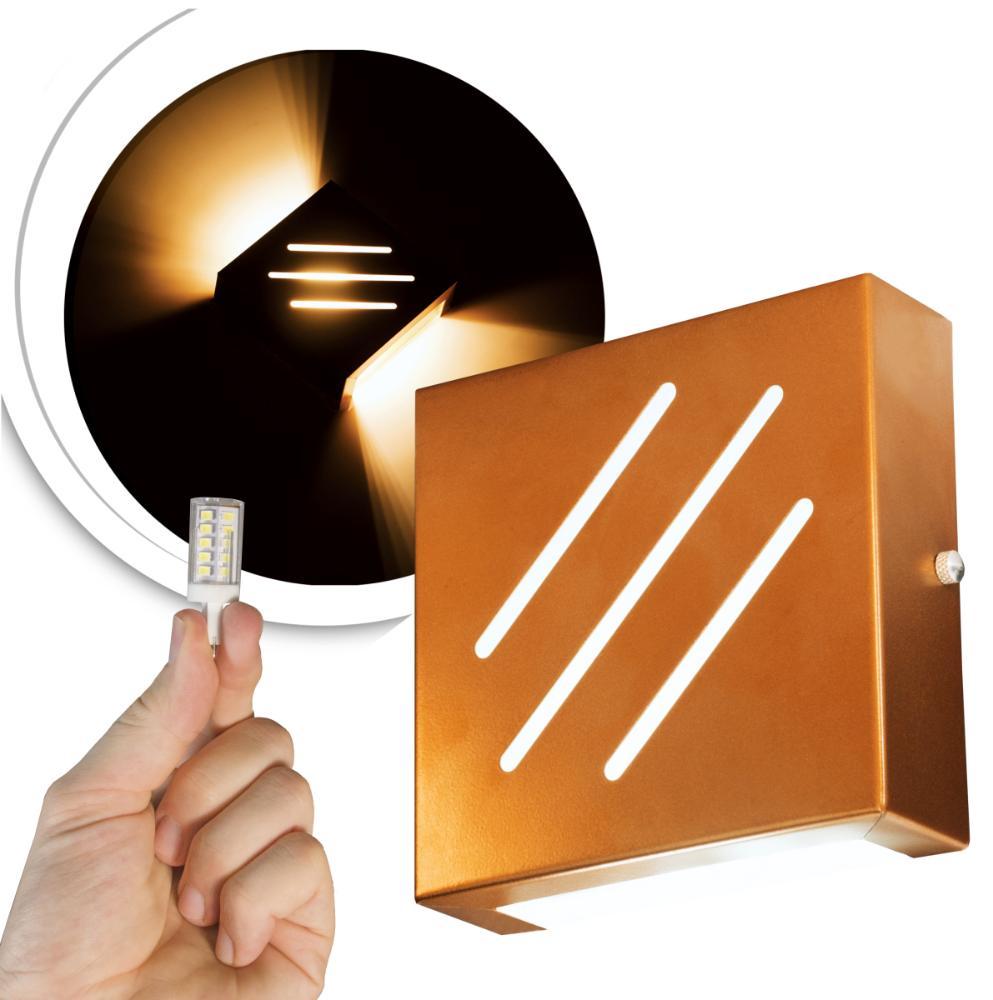 Arandela Frisada Flat Externa c/ LED 5W Incluso | Cor da Luz: 6.000k | Tam: 14x14cm | Cor: Cobre | Soq: G9 | Mod: Wolverine