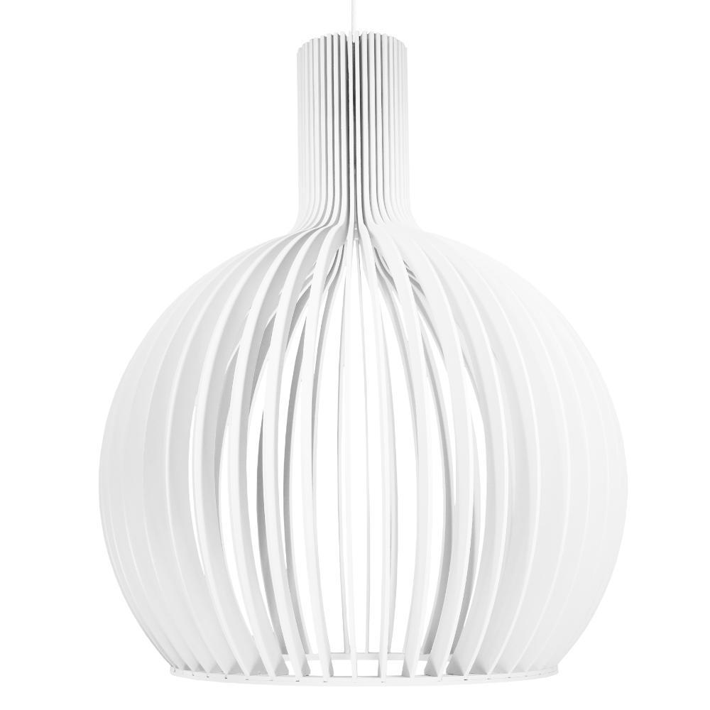 Luminária Pendente Octo Bellatrix Branca em Madeira - Soq: E27 / Tam: 45x56cm
