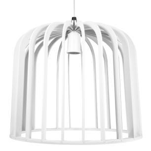 Luminária Pendente Piero Branco em Madeira - Soq: E27 / Tam: 30x27cm