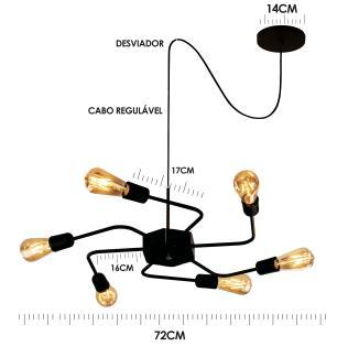 Luminária Sputnik industrial 6 hastes Com Fio Ajustável e Desviador Soq: E27 | Cor: Preto | Tam: 86cm | Mod: Timon Curve