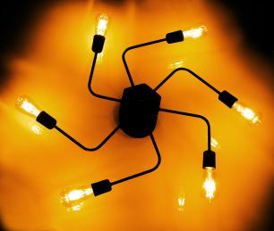 Luminária Sputnik industrial 6 hastes Com Fio Ajustável Soq: E27   Cor: Preto   Tam: 86cm   Mod: Timon Curve