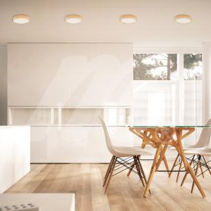 Luminária Plafon Sobrepor de Madeira Redondo Marfim 18W LED 2.700k