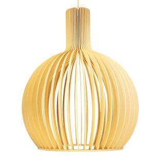 Luminária Pendente Octo Bellatrix Marfim em Madeira - Soq: E27 / Tam: 45x56cm
