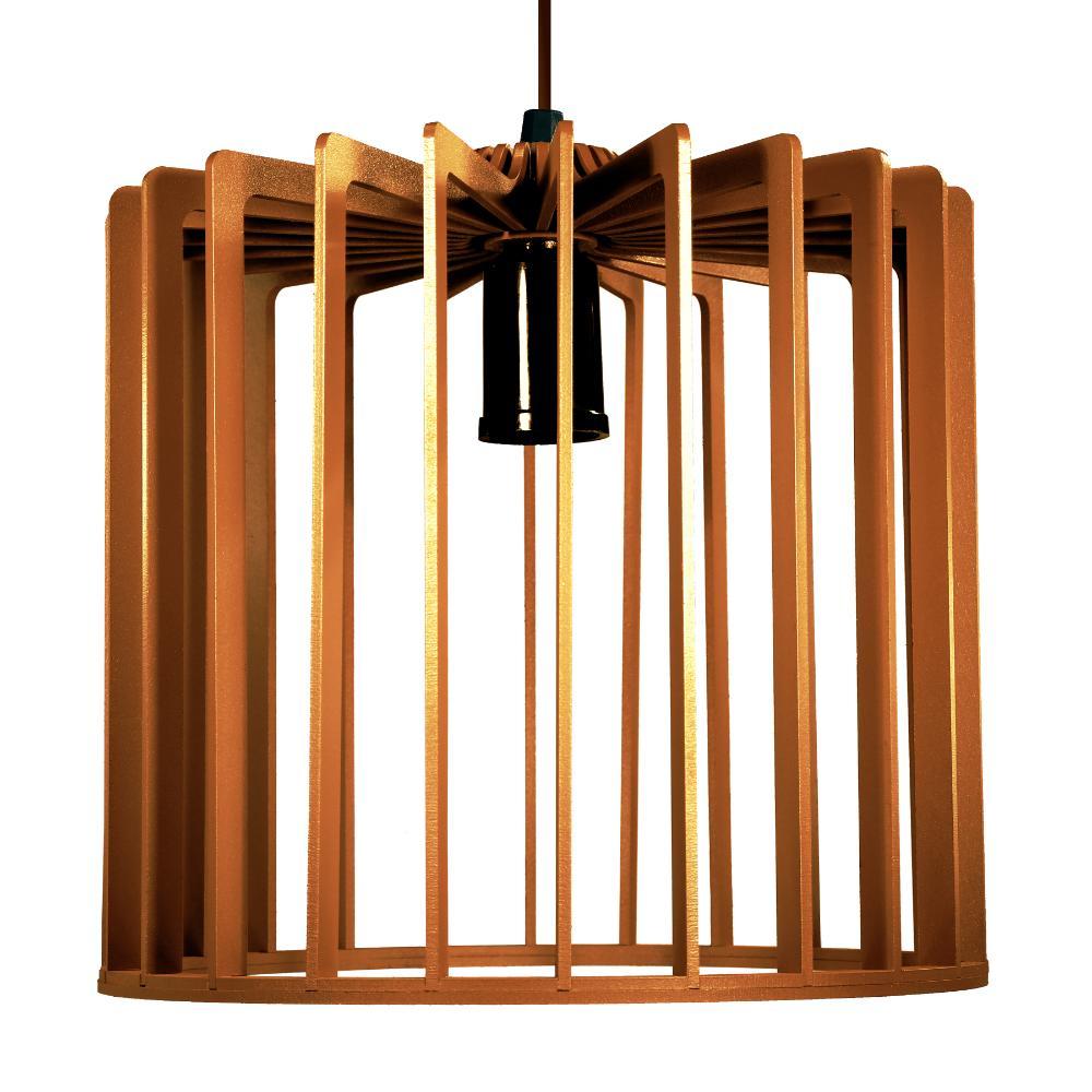 Luminária Pendente Tiziano Caramelo de Madeira - Soq: E27 / Tam: 22x23cm