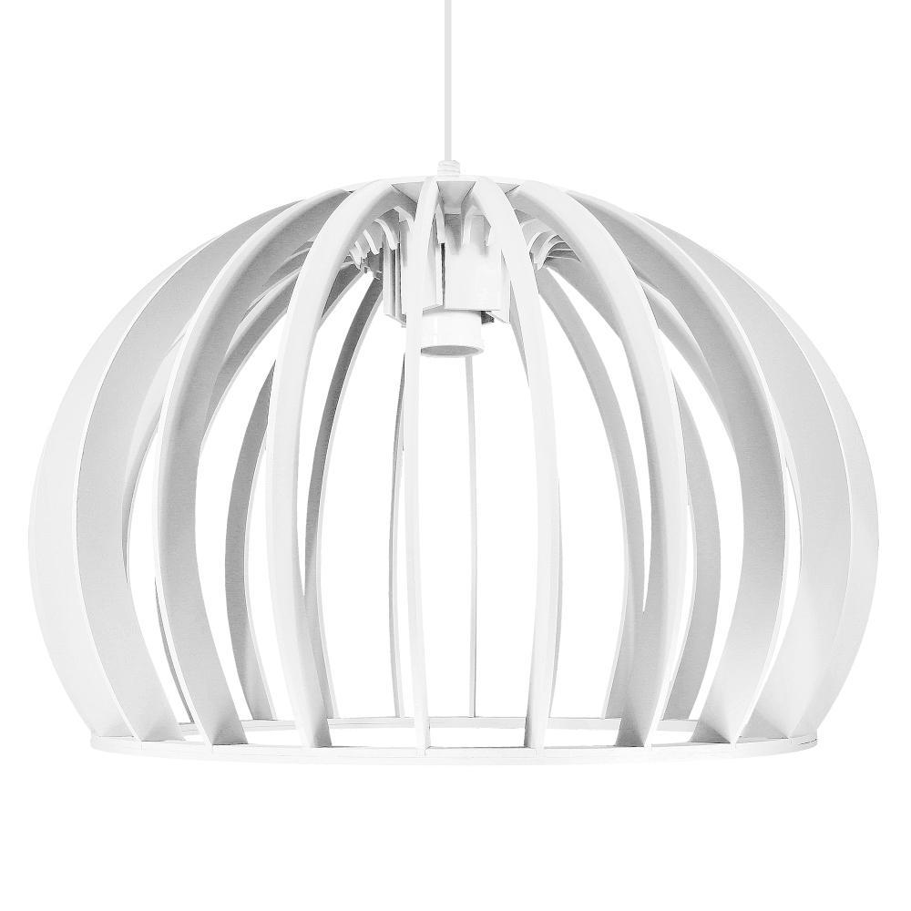 Luminária Pendente Isar Branco em Madeira - Soq: E27 / Tam: 39x25cm