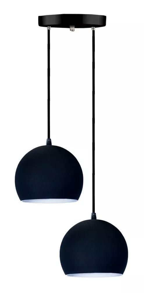 Lustre Pendente Duplo Meia Bola de Aluminio Soq: E27 | Cor:Preto | Tam: 14m | Mod: Conflate Duplo