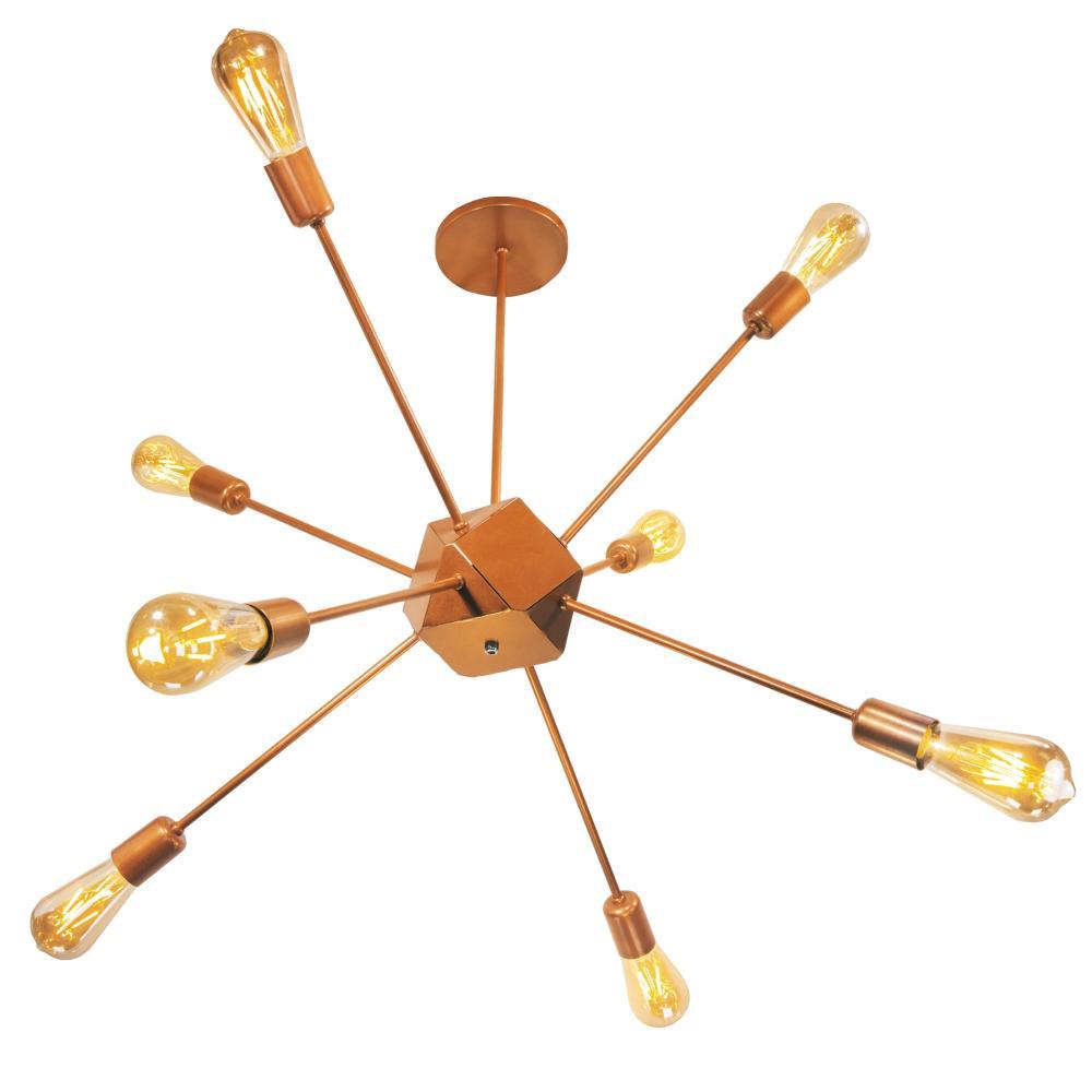 Luminária Sputnik Stali Industrial 8 hastes moderno Soq: E27 | Cor: Cobre | Tam: 90cm | Mod: Sputnik Stali