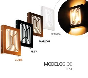 Arandela Slim Externa Interna 2 Focos Flat Decor Cor: Marrom Modelo: Gide