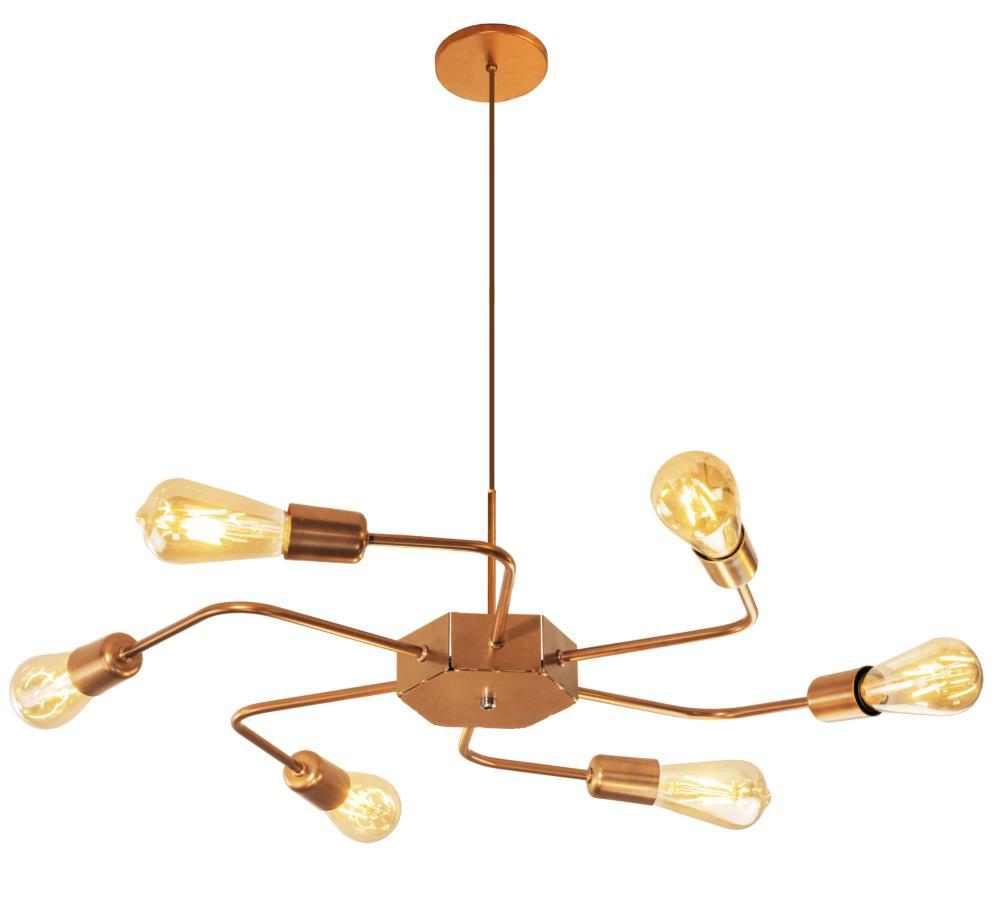 Luminária Sputnik industrial 6 hastes Com Fio Ajustável Soq: E27 | Cor: Cobre | Tam: 86cm | Mod: Timon Curve