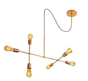 Luminária Sputnik 6 hastes com Fio Ajustável e Desviador Soq: E27   Cor Cobre   Tam 60cm   Mod Gun
