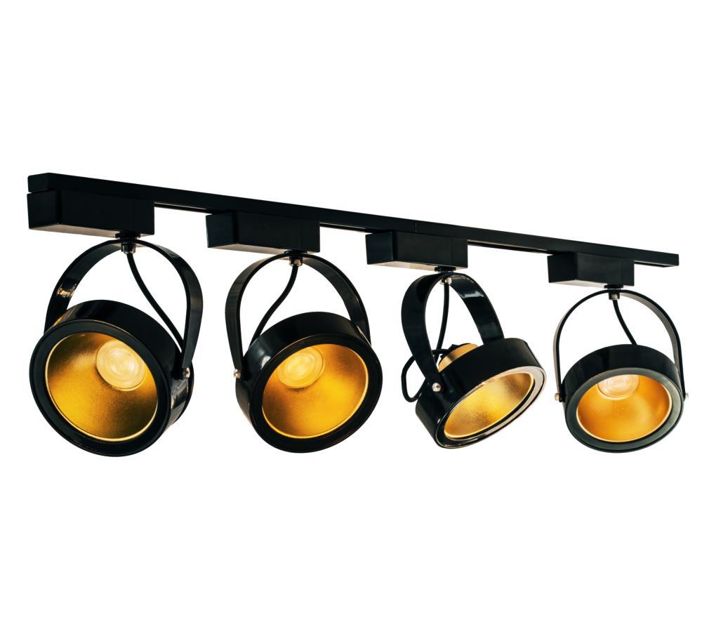 Kit Trilho Eletrificado 1,5m + 4 Spot LED AR111 12W Preto e Dourado
