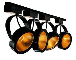 Trilho Eletrificado 2 metros com 5 Spots Preto SOQ: AR111 2700K  COR: Preto com Dourado   TAM: 2M   MOD: L3