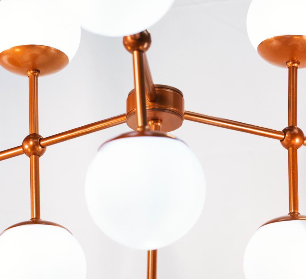 Luminária Sputnik Platon Industrial 3 hastes 9 bolas de Vidro Com Fio Ajustável Soq: G9   Cor: Branco com Cobre   Tam: 60cm   Mod: Sputnik Platon