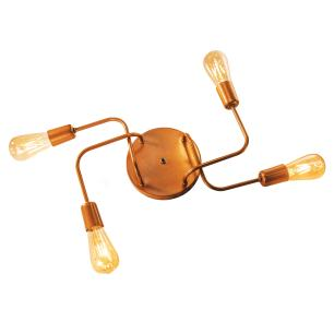 Luminária Sputnik Loki Industrial 4 Hastes Industrial Soq: E-27 | Cor: Cobre | Tam: 60cm | Mod: Sputnik Loki