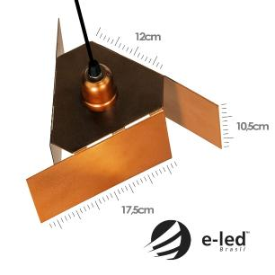 Luminária Pendente com Design Abstrato Branco com Cobre Mod: Tábor | Soq: E27