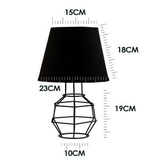 Abajur Lanterna Aramado Preto Design Moderno Com Cúpula De Tecido Bege