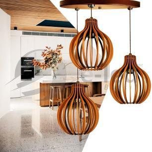 Pendente duplo de madeira   Canopla Redonda   35x24cm   Soq: E-27   Café   Mod: Bali