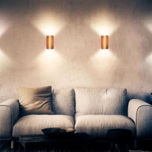 Arandela de Madeira Grega Marrom Café com LED 420 Lúmens / Tam: 9x16cm / Luz: 5.000K