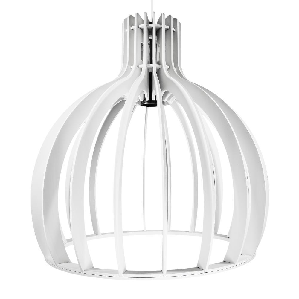 Luminária Pendente Cirkel Branco em Madeira - Soq: E27 / Tam: 25x25,5cm