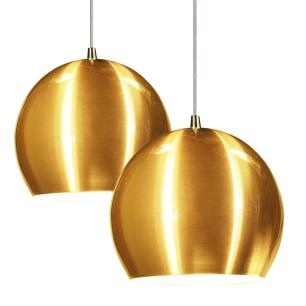 Lustre Pendente Duplo Meia Bola de Aluminio Soq: E27 | Cor:Ouro | Tam: 14m | Mod: Conflate Duplo