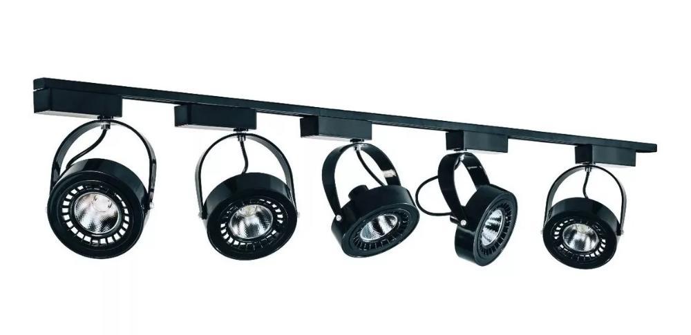 Trilho Eletrificado 1,5 metro com 5 Spots Preto SOQ: AR111 2700K  COR: Preto com Preto  TAM: 1,5M   MOD: L3
