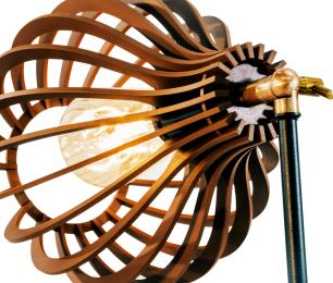 Arandela de Madeira Interna Caramelo Tam: 21x18cm Soq: E27 Mod: Bali